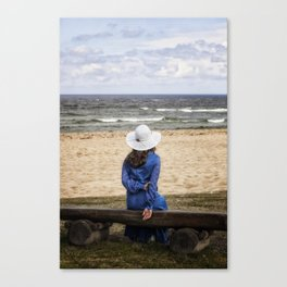 woman on a bench Canvas Print