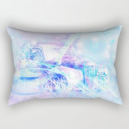 Old car in pink and blue space Rectangular Pillow