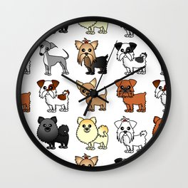 Cute Toy Dog Breed Pattern Wall Clock