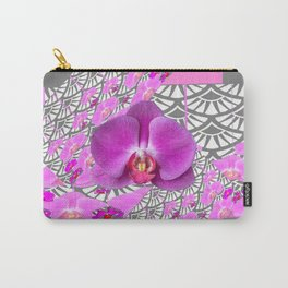 GREY & CERISE PINK ORCHID FLOWERS  WHITE PATTERN Carry-All Pouch