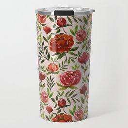 Burgundy Watercolor Floral Pattern Travel Mug