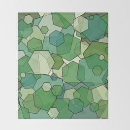 Converging Hexes - Green and Yellow Throw Blanket