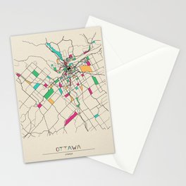 Colorful City Maps: Ottawa, Canada Stationery Cards