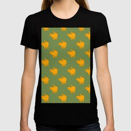 Cute Yellow Cats Pattern | Green T-shirt