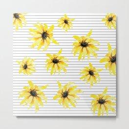 Bright Yellow Daisies on Stripes Metal Print