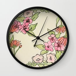 Cornered Floral Wall Clock