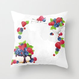 Berries Cake Wreath 01 Throw Pillow