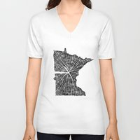 tree rings V-neck T-shirts featuring Minnesota Tree Rings by Wolf's Head Craftworks