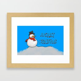 Merry Christmas Snowman Framed Art Print