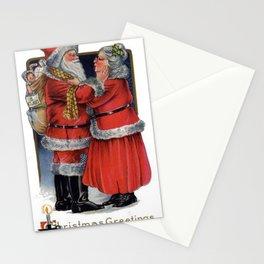 Vintage Christmas Greetings from Mr and Mrs Claus Stationery Cards