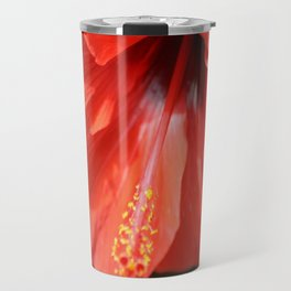 Red Petal and Anther with Pistil of Hibiscus Flower Travel Mug
