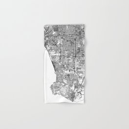 Los Angeles White Map Hand & Bath Towel