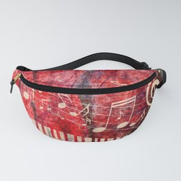 Piano Keyboard with red rose and musical notes Fanny Pack