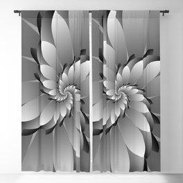 3D Black & Grey Spiral Art Blackout Curtain