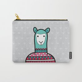 Doodle Alpaca on Grey Triangle Background Carry-All Pouch