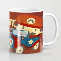mario kart Mugs featuring mario kart vintage by danvinci