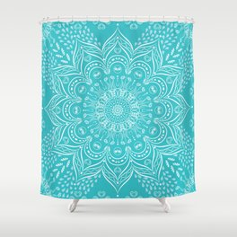Teal Boho Mandala Shower Curtain