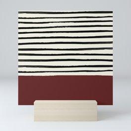 Dark Ruby & Stripes Mini Art Print
