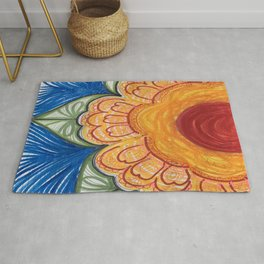Bold Yellow Flower Drawing Rug