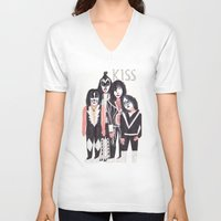 kiss V-neck T-shirts featuring KISS by Angela Dalinger