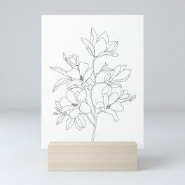 Minimal Line Art Magnolia Flowers Mini Art Print