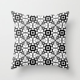 Convergence Pattern - White on Black Throw Pillow