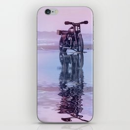 Where the Journey  begins Motorcycle at the Water Sunset iPhone Skin