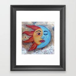 Soluna, Sun and Moon Mixed media Painting Framed Art Print