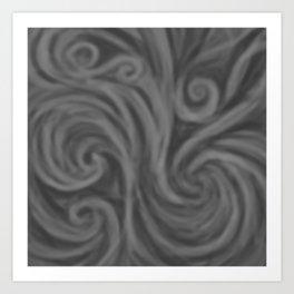 Dark Gray Swirl Art Print