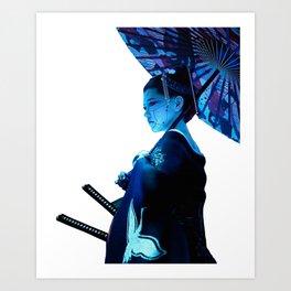 Japanese Geisha Vaporwave Cyberpunk Urban Style Art Print