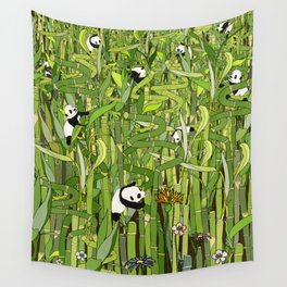 Traveling Pandas in Bamboo Forest Wall Tapestry