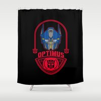 optimus prime Shower Curtains featuring Optimus by Buby87