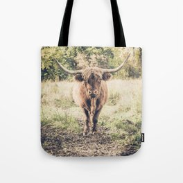 Highland scottish cow cattle long horn Tote Bag