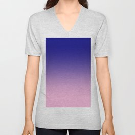 Navy Blue to Cotton Candy Pink Linear Gradient Unisex V-Neck