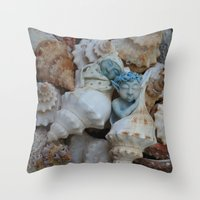 pixies Throw Pillows featuring Sea pixies by Tracey Burgun