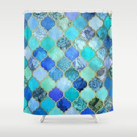 aqua Shower Curtains featuring Cobalt Blue, Aqua & Gold Decorative Moroccan Tile Pattern by micklyn