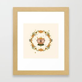 Chouette aux oliviers Framed Art Print