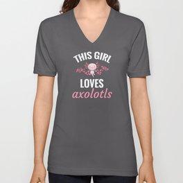 Cute Axolotl Gifts For Women   Axolotl Lover Unisex V-Neck