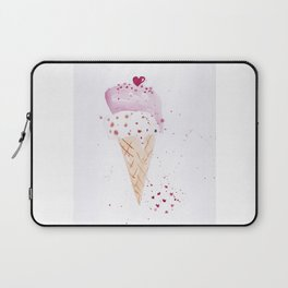 Ice cream Love watercolor illustration summer love pink strawberry Laptop Sleeve