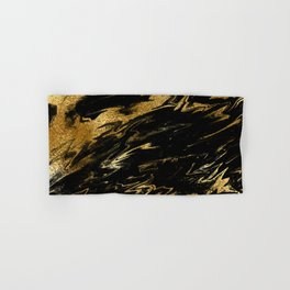 Luxury and sparkle gold glitter and black marble Hand & Bath Towel