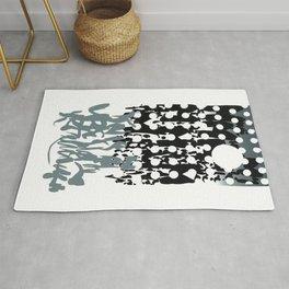 grey calligraphy (screen print) Rug