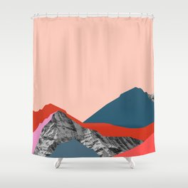Graphic Mountains Shower Curtain