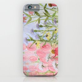 Botanical Floral Watercolor Pink Blue Yellow Flowers Blue Skies iPhone Case