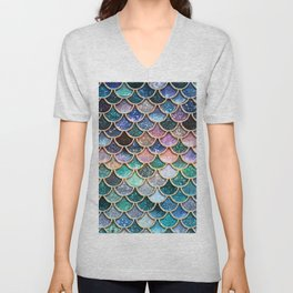 Multicolor Pink And Aqua Mermaid Scales - Beautiful Abstract Glitter Pattern Unisex V-Neck