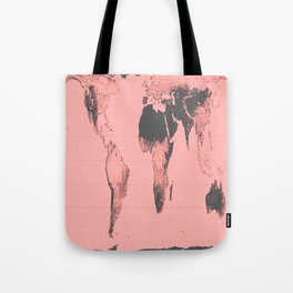 World Map: Gall Peters Pink Tote Bag