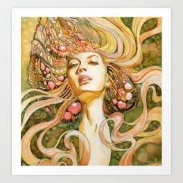 Girl with Jewels Art Print