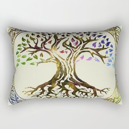 Tree of life  -Yggdrasil - Gold & Green  foil Rectangular Pillow