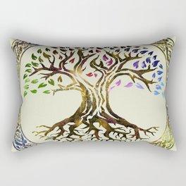 Tree of life  -Yggdrasil - Gold & Green  foil Rectangular Pillow
