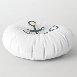 Anchor Ahoi Sailorboat marina Floor Pillow