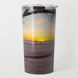 Winter Beach Sunset Travel Mug